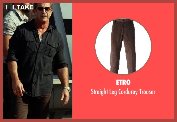 Etro brown trouser from The Expendables 3 seen with Mel Gibson (Stonebanks)