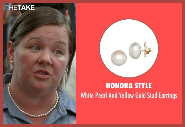 Honora Style white earrings from Bridesmaids seen with Melissa McCarthy (Megan Price)