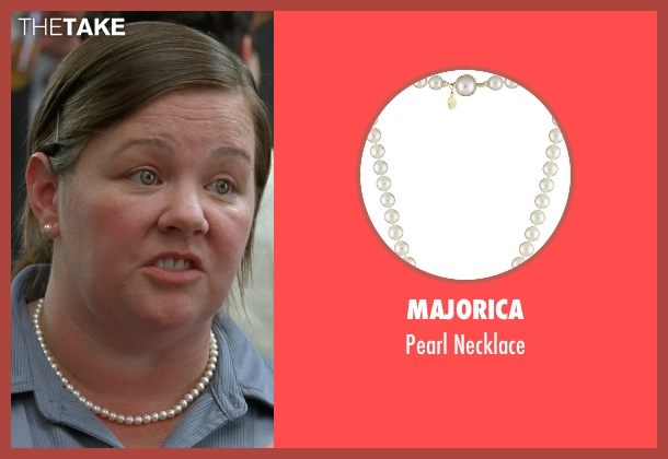 Majorica white necklace from Bridesmaids seen with Melissa McCarthy (Megan Price)