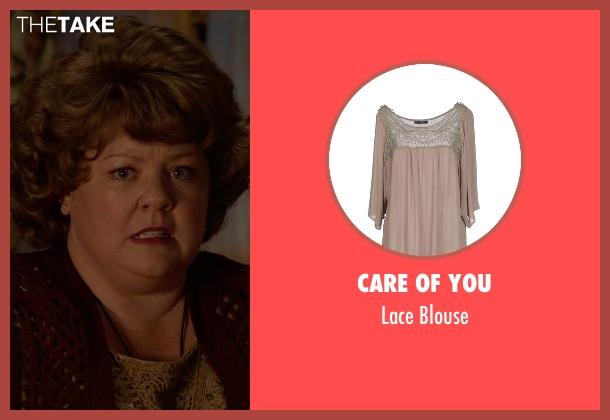 Care Of You beige blouse from Spy seen with Melissa McCarthy (Susan Cooper)