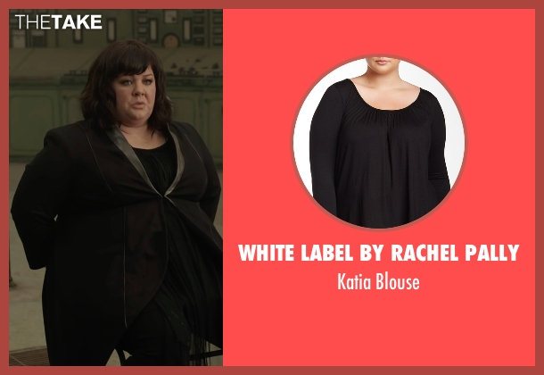 White Label by Rachel Pally black blouse from Spy seen with Melissa McCarthy (Susan Cooper)
