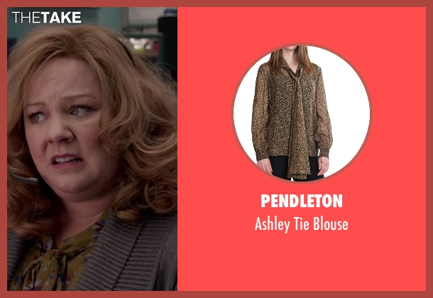 Pendleton brown blouse from Spy seen with Melissa McCarthy (Susan Cooper)