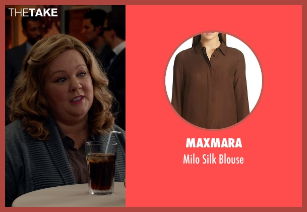 Maxmara brown blouse from Spy seen with Melissa McCarthy (Susan Cooper)