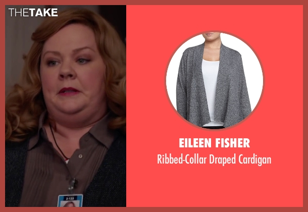Eileen Fisher gray cardigan from Spy seen with Melissa McCarthy (Susan Cooper)