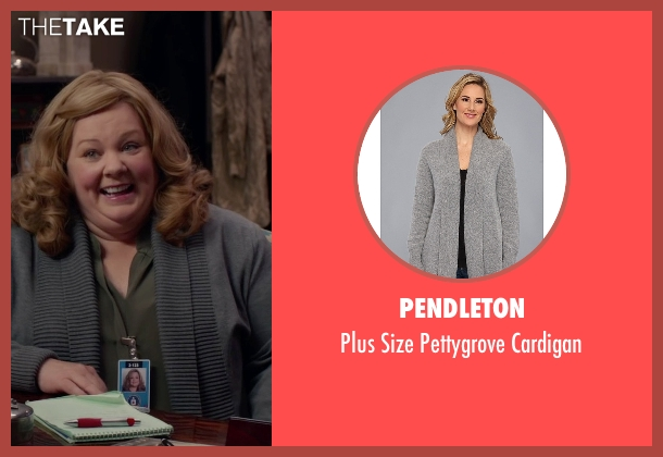 Pendleton gray cardigan from Spy seen with Melissa McCarthy (Susan Cooper)