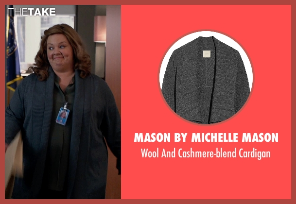 Mason By Michelle Mason gray cardigan from Spy seen with Melissa McCarthy (Susan Cooper)