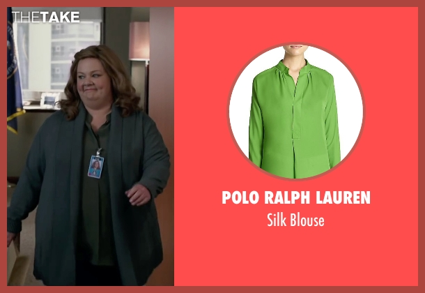 Polo Ralph Lauren green blouse from Spy seen with Melissa McCarthy (Susan Cooper)