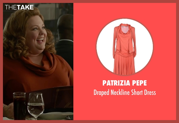 Patrizia Pepe orange dress from Spy seen with Melissa McCarthy (Susan Cooper)