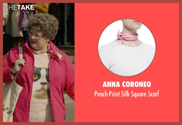 Anna Coroneo pink scarf from Spy seen with Melissa McCarthy (Susan Cooper)