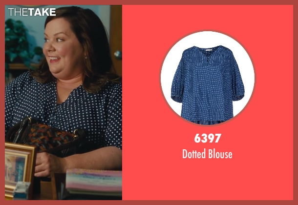 6397 blue blouse from St. Vincent seen with Melissa McCarthy (Maggie)