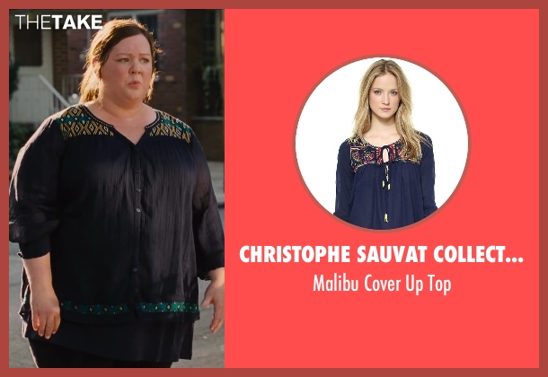 Christophe Sauvat Collection blue top from St. Vincent seen with Melissa McCarthy (Maggie)