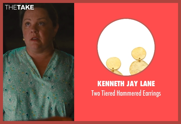 Kenneth Jay Lane gold earrings from St. Vincent seen with Melissa McCarthy (Maggie)