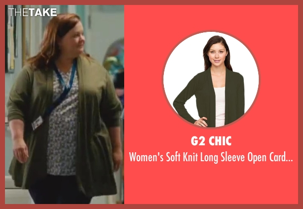 G2 Chic green cardigan from St. Vincent seen with Melissa McCarthy (Maggie)