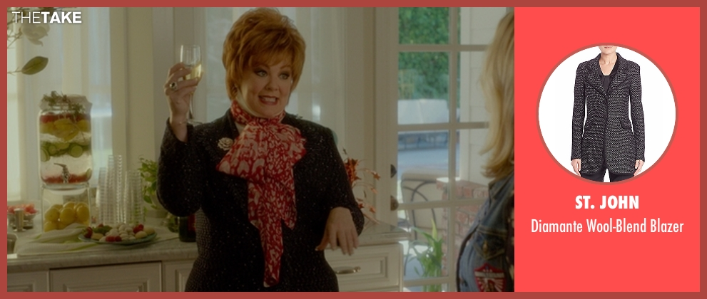St. John gray blazer from The Boss seen with Melissa McCarthy (Michelle Darnell)