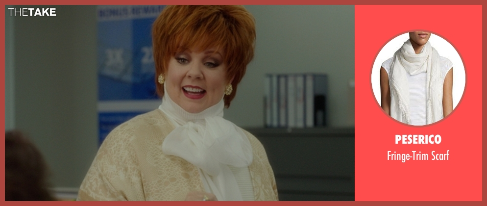 Peserico white scarf from The Boss seen with Melissa McCarthy (Michelle Darnell)