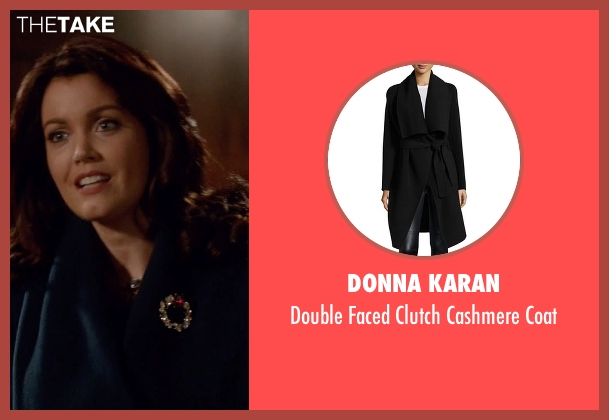 Donna Karan black coat from Scandal seen with Mellie Grant (Bellamy Young)