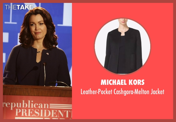Michael Kors black jacket from Scandal seen with Mellie Grant (Bellamy Young)