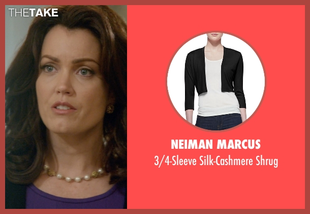 Neiman Marcus black shrug from Scandal seen with Mellie Grant (Bellamy Young)