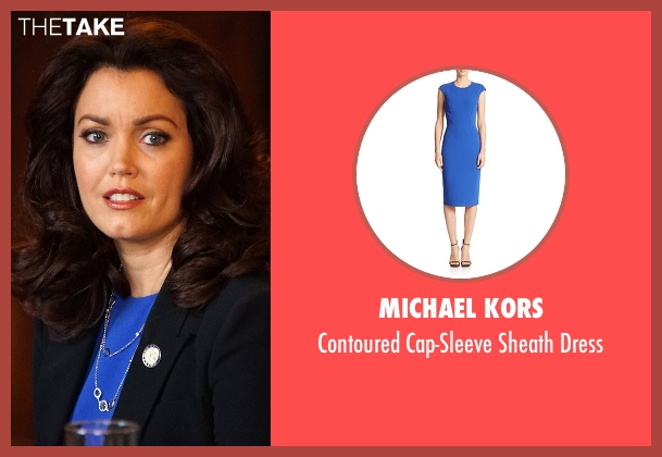 Michael Kors blue dress from Scandal seen with Mellie Grant (Bellamy Young)