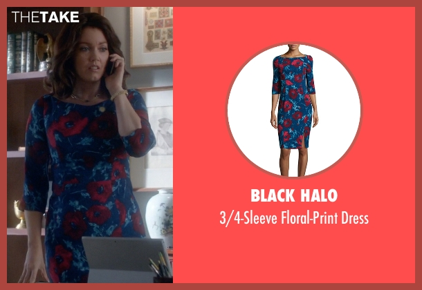 Black Halo blue dress from Scandal seen with Mellie Grant (Bellamy Young)