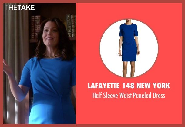 Lafayette 148 New York blue dress from Scandal seen with Mellie Grant (Bellamy Young)