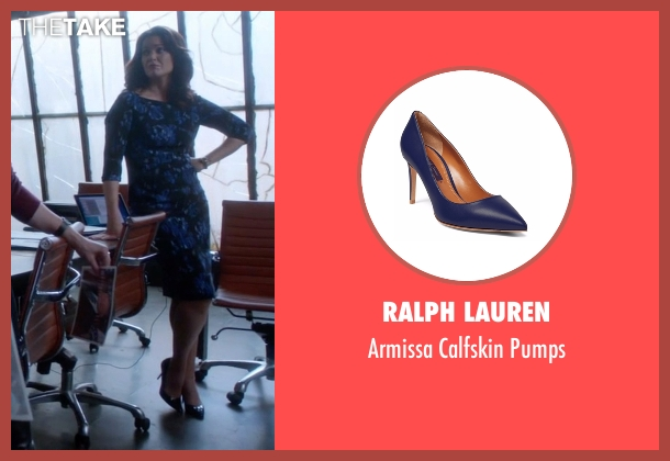 Ralph Lauren blue pumps from Scandal seen with Mellie Grant (Bellamy Young)