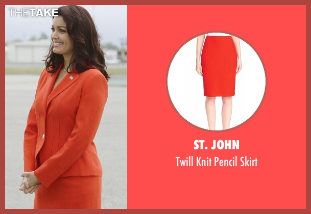 St. John orange skirt from Scandal seen with Mellie Grant (Bellamy Young)