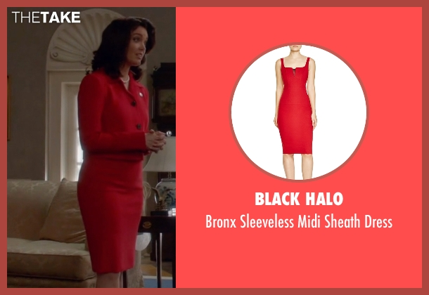 Black Halo red dress from Scandal seen with Mellie Grant (Bellamy Young)