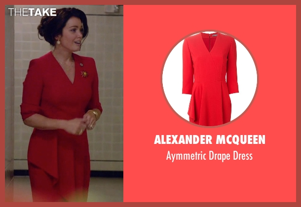 Alexander Mcqueen red dress from Scandal seen with Mellie Grant (Bellamy Young)