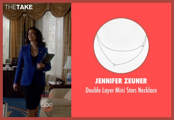 Jennifer Zeuner silver necklace from Scandal seen with Mellie Grant (Bellamy Young)