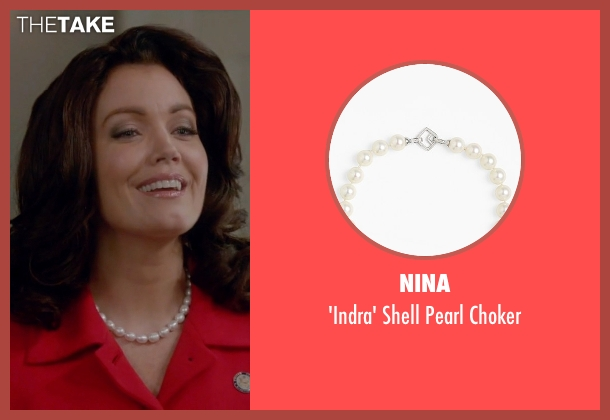 Nina white choker from Scandal seen with Mellie Grant (Bellamy Young)