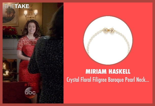 Miriam Haskell white necklace from Scandal seen with Mellie Grant (Bellamy Young)