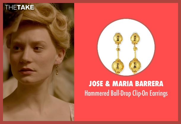 Jose & Maria Barrera gold earrings from Crimson Peak seen with Mia Wasikowska (Edith Cushing)