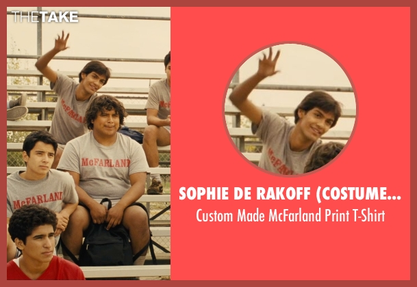 Sophie De Rakoff (Costume Designer) gray t-shirt from McFarland, USA seen with Michael Aguero (Damacio Diaz)