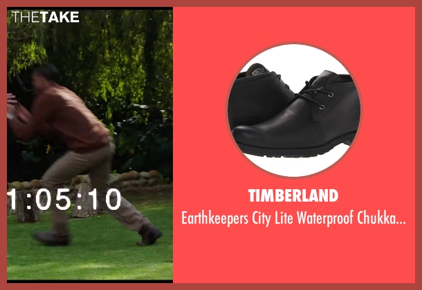 Timberland black shoes from Chronicle seen with Michael B. Jordan (Steve Montgomery)