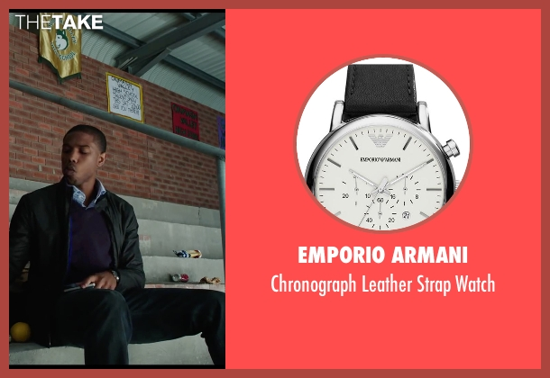 Emporio Armani black watch from Chronicle seen with Michael B. Jordan (Steve Montgomery)