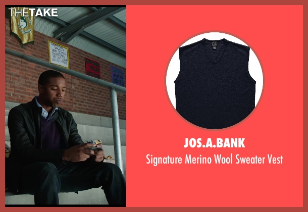 Jos.A.Bank blue vest from Chronicle seen with Michael B. Jordan (Steve Montgomery)