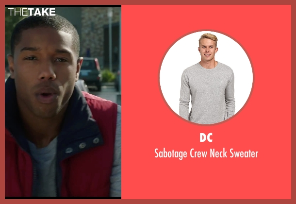 DC gray sweater from Chronicle seen with Michael B. Jordan (Steve Montgomery)