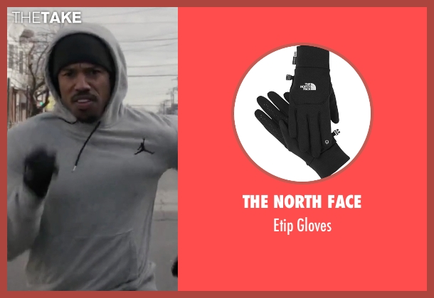 The North Face black gloves from Creed seen with Michael B. Jordan (Adonis Johnson)