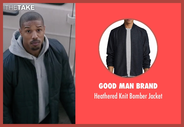 Good Man Brand black jacket from Creed seen with Michael B. Jordan (Adonis Johnson)