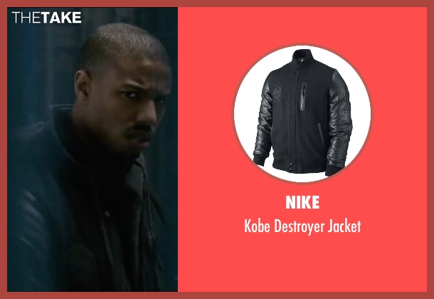 Nike black jacket from Creed seen with Michael B. Jordan (Adonis Johnson)