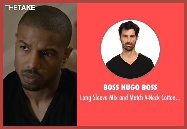 BOSS Hugo Boss  black shirt from Creed seen with Michael B. Jordan (Adonis Johnson)