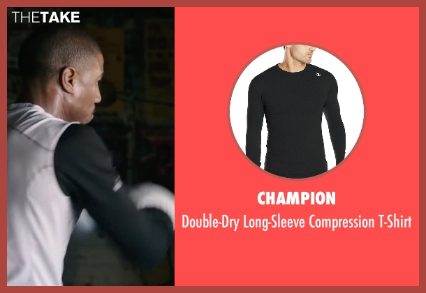 Champion black t-shirt from Creed seen with Michael B. Jordan (Adonis Johnson)