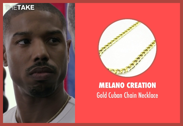 Melano Creation gold necklace from Creed seen with Michael B. Jordan (Adonis Johnson)