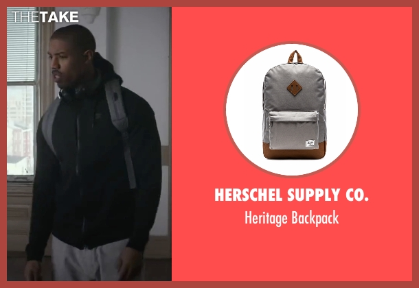 Herschel Supply Co. gray backpack from Creed seen with Michael B. Jordan (Adonis Johnson)