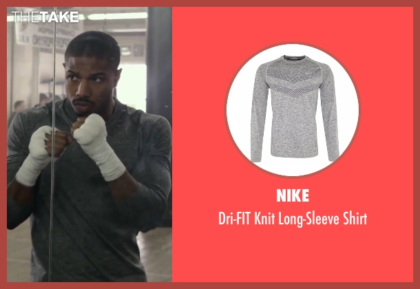 Nike gray shirt from Creed seen with Michael B. Jordan (Adonis Johnson)