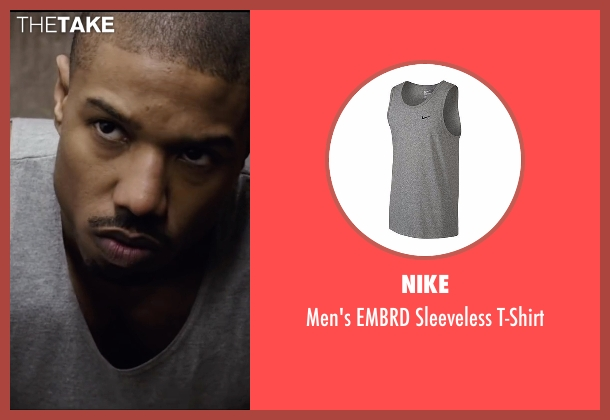 Nike gray t-shirt from Creed seen with Michael B. Jordan (Adonis Johnson)