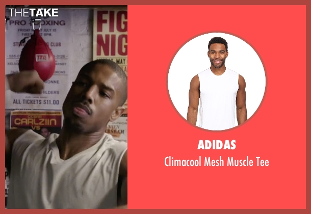 Adidas white tee from Creed seen with Michael B. Jordan (Adonis Johnson)