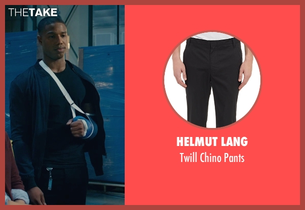 Helmut Lang black pants from Fantastic Four seen with Michael B. Jordan (Johnny Storm / The Human Torch)