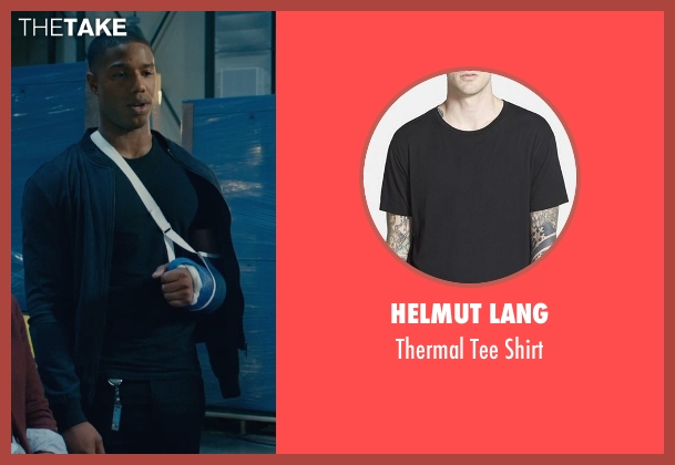 Helmut Lang black shirt from Fantastic Four seen with Michael B. Jordan (Johnny Storm / The Human Torch)